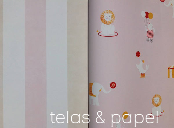 papel infantil a rayas rosas a juego con el papel circus con fondo rosa papel pintado infantil