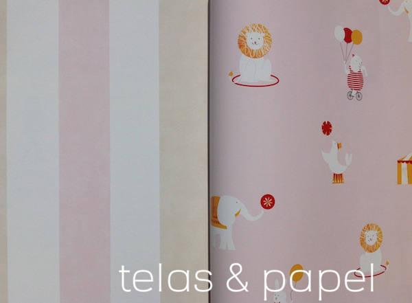 papel infantil a rayas rosas a juego con el papel Circus con fondo rosa
