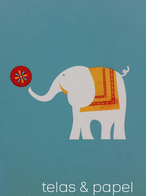 dibujo de elefante del papel Circus con el fondo azul