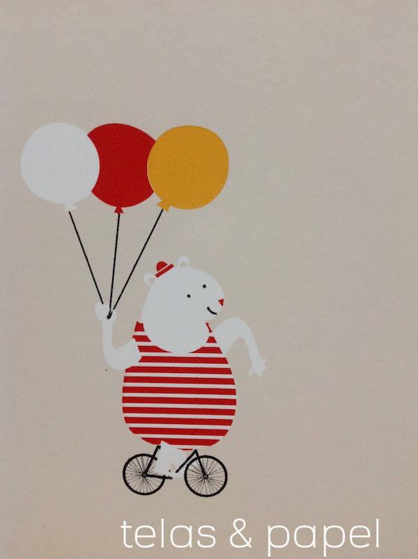 osito del papel infantil Circus con fondo color beige claro