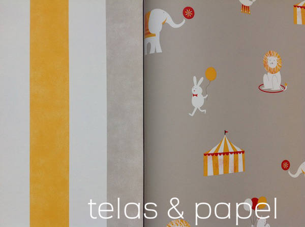 papel pintado a rayas a juego con el papel circus color piedra
