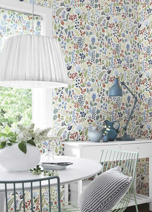 Tienda online telas papel papel pintado flores stig for Comedor papel pintado