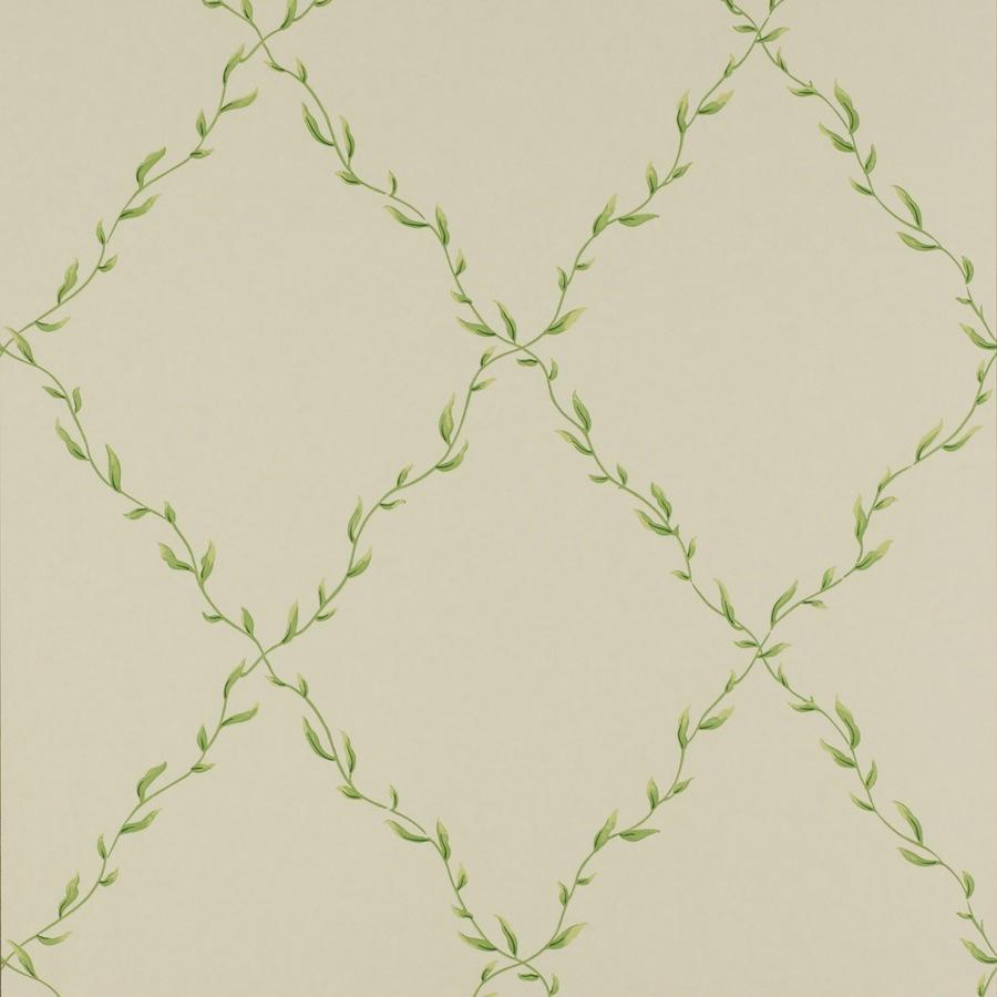 Papel pintado trellis hojas willerby verde telas papel - Papel pintado verde ...