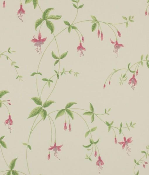 Papel pintado con campanillas trepadoras en fresa telas for Papeles pintados ingleses