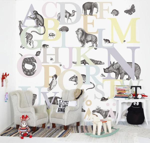 Papel pintado con letras para su habitaci n telas for Donde venden papel mural