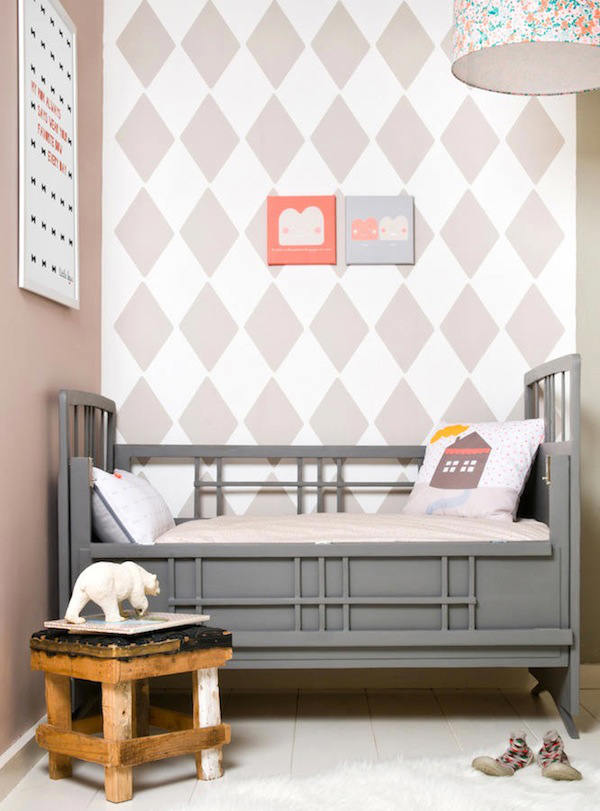 Tienda online telas papel habitaciones de bebes con rombos en las paredes - Papel pintado gris ...