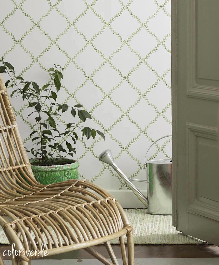 Tienda online telas papel papel pintado con trellis de - Papeles pintados para paredes ...