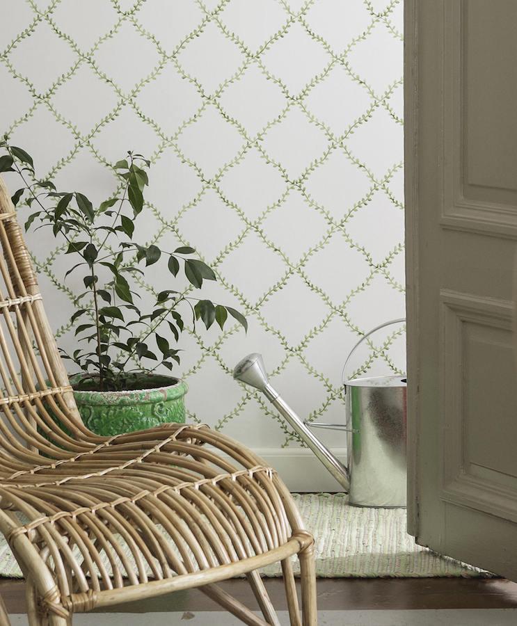 Tienda online telas papel papel pintado con trellis de - Papeles pintados de pared ...