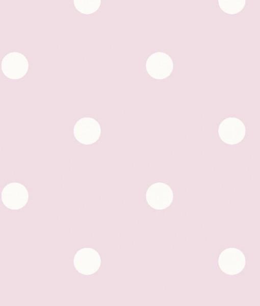 Papel pintado lunares vintage color rosa telas papel for Papel pintado lunares