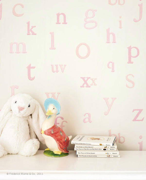 Tienda online telas papel papel pintado con letras - Papeles pintados bebe ...