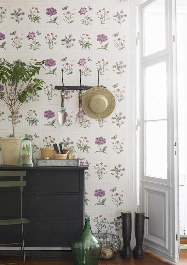 Tienda online telas papel hojas con flores en el papel - Papel pintado laura ashley ...