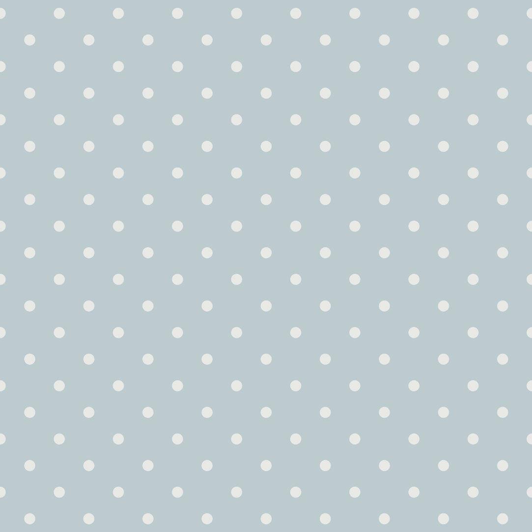 papel pintado lunares vintage azul