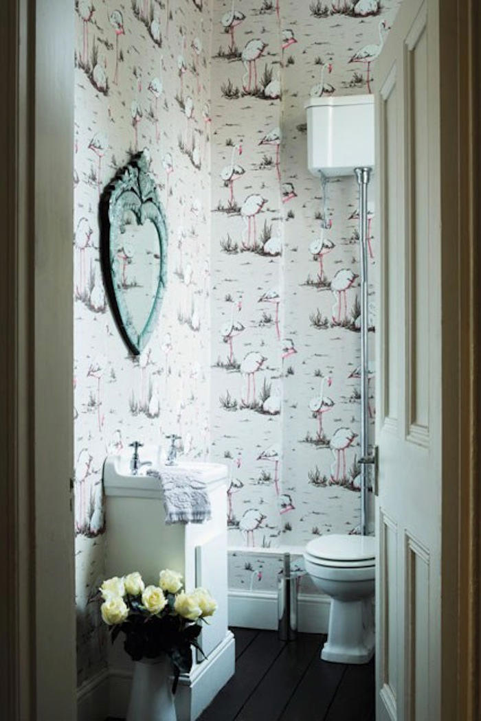 Tienda online telas papel nos encantan los flamencos for Bathroom interior design wallpaper