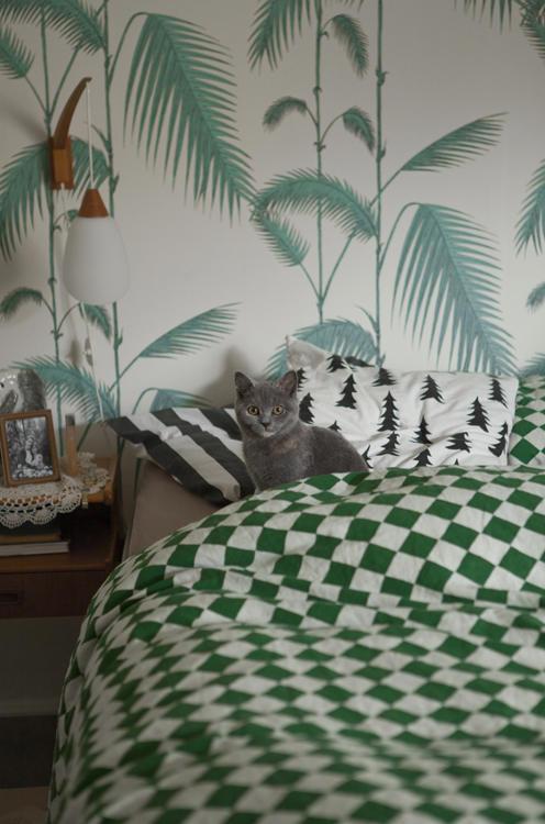Tienda online telas papel palmeras de cole and son - Cabecero papel pintado ...