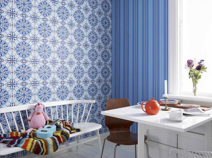 Tienda online telas papel una cocina con papel pintado for Comedor papel pintado
