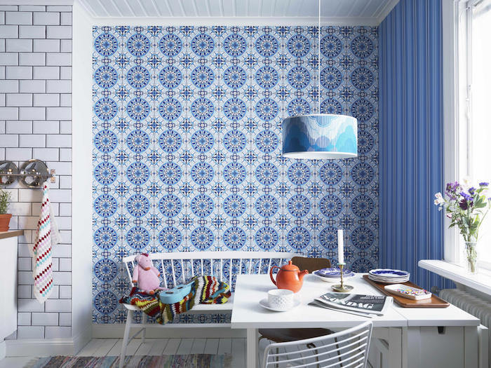 Tienda online telas papel una cocina con papel pintado for Decorar con papel pintado