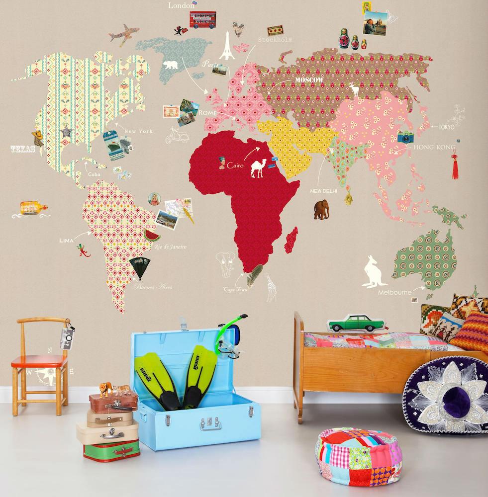tienda online telas & papel | Mural de papel pintado con mapa mundi ...