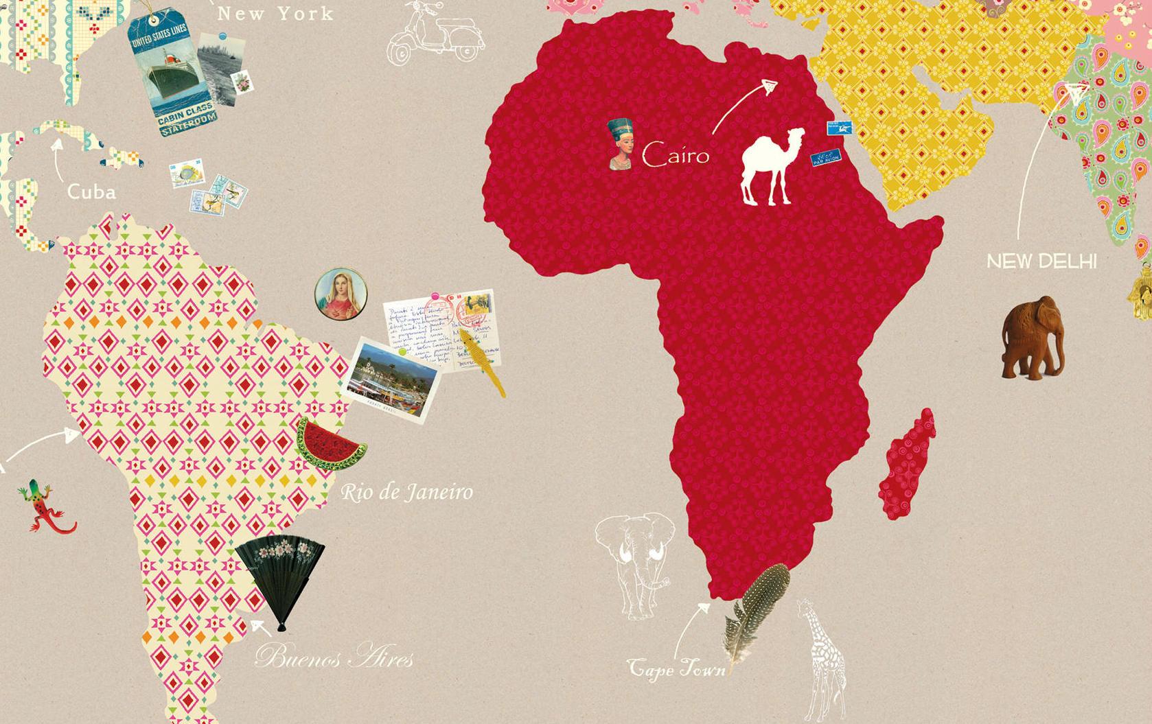 Tienda online telas papel mural de papel pintado con - Mural mapa mundi ...