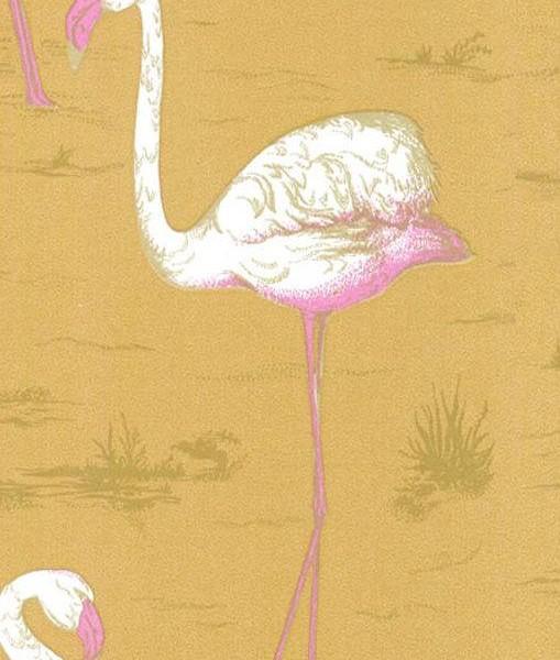 Papel pintado flamencos mostaza telas papel for Papel pintado flamencos