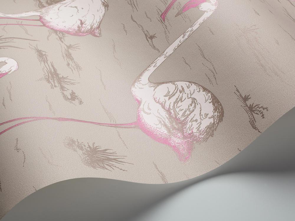 Tienda online telas papel papel pintado flamencos gris for Papel pintado flamencos
