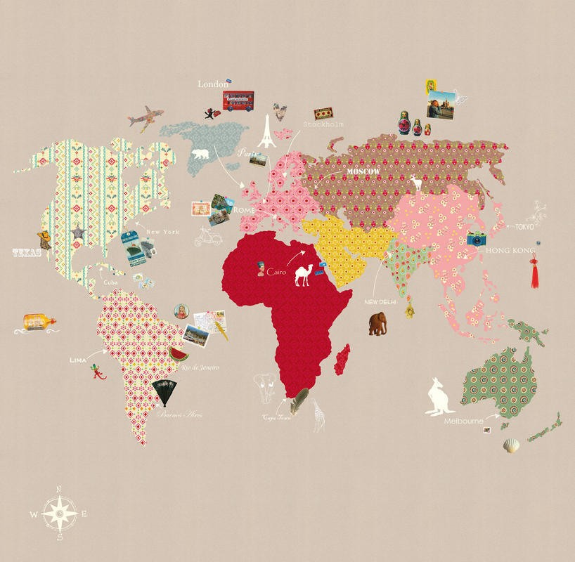 Mural de papel pintado con mapa mundi con fondo beige - Papel pintado mapamundi ...