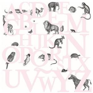 Tienda online telas papel mural de papel pintado con abecedario de animales en color rosa Papel pintado animales