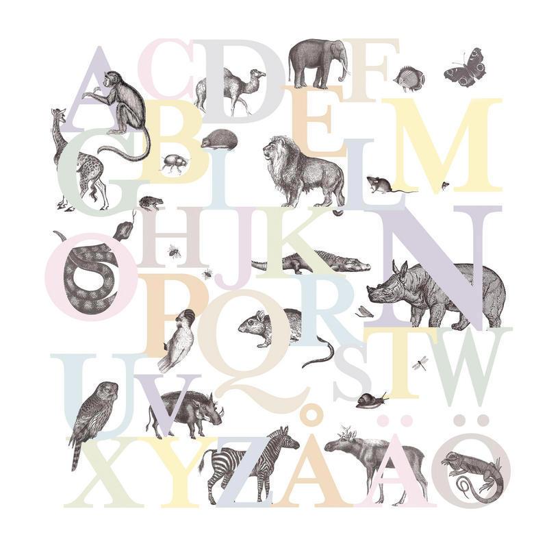 Tienda online telas papel mural de papel pintado con abecedario de animales en colores pastel Papel pintado animales