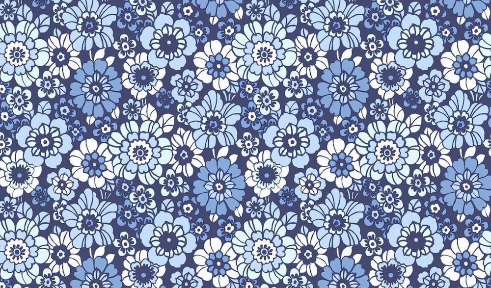 Tienda online telas papel papel pintado flores vintage happy azul - Papeles pintados vintage ...