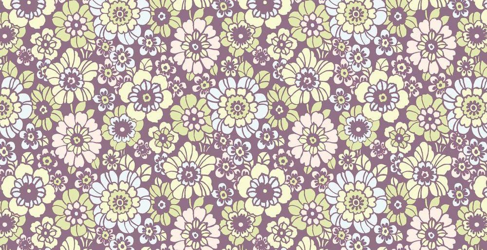Tienda online telas papel papel pintado flores vintage happy lila - Papel pintado vintage ...