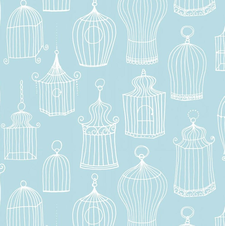 Papel pintado jaulas celine azul turquesa telas papel - Papel pintado turquesa ...
