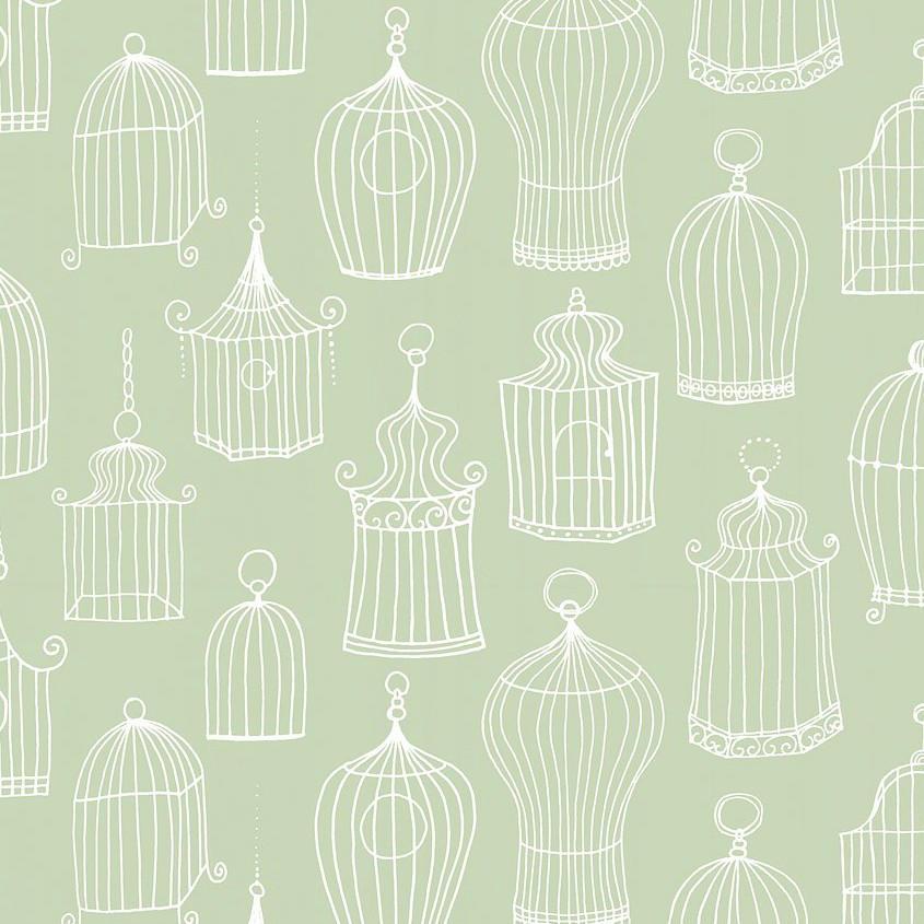 Tienda online telas papel papel pintado jaulas celine - Papel pintado verde ...