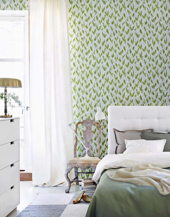Tienda online telas papel un dormitorio decorado con - Dormitorio con papel pintado ...
