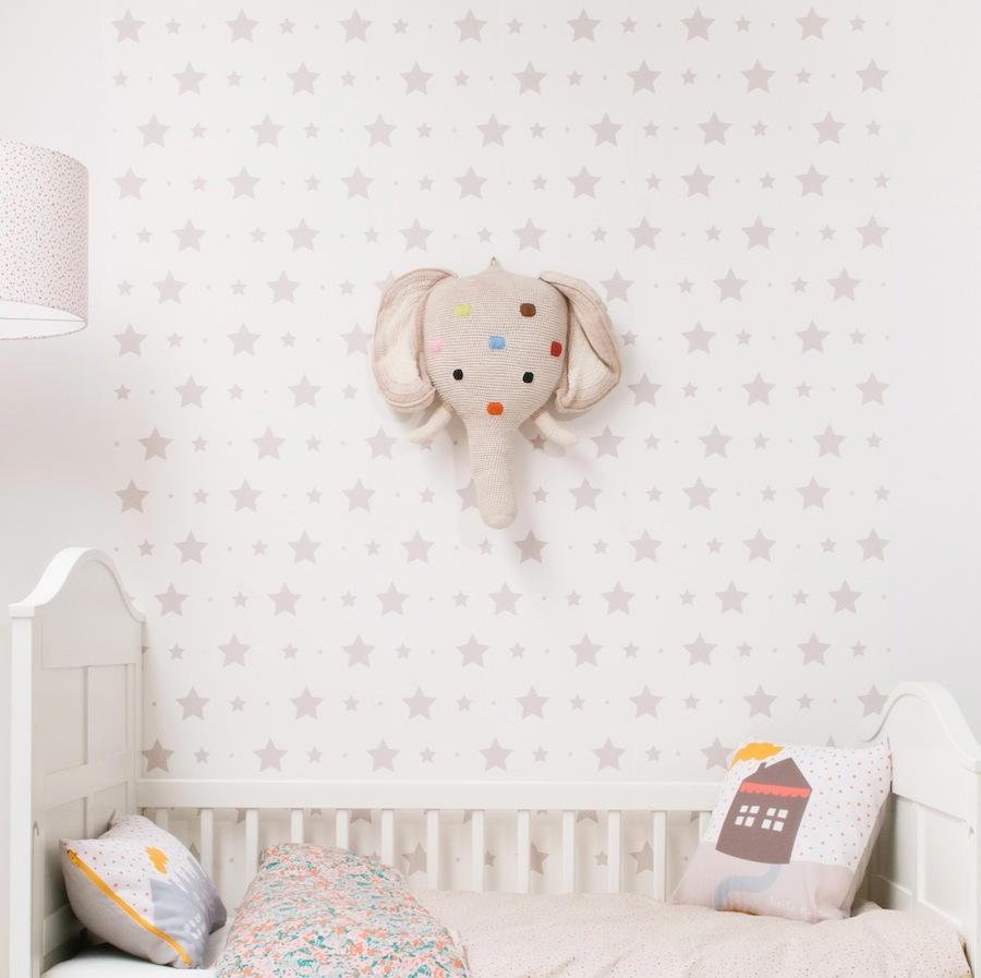 Tienda online telas papel mural papel pintado con for Decoracion habitacion bebe papel pintado