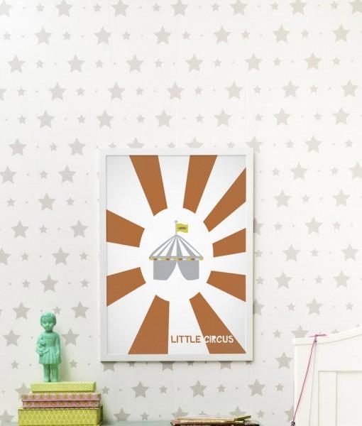 Mural Papel Pintado Con Estrellas Y Estrellitas Gris