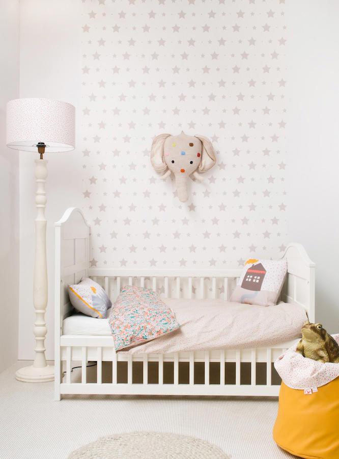 Tienda online telas papel mural papel pintado con estrellas y estrellitas gris piedra - Papel pintado gris ...