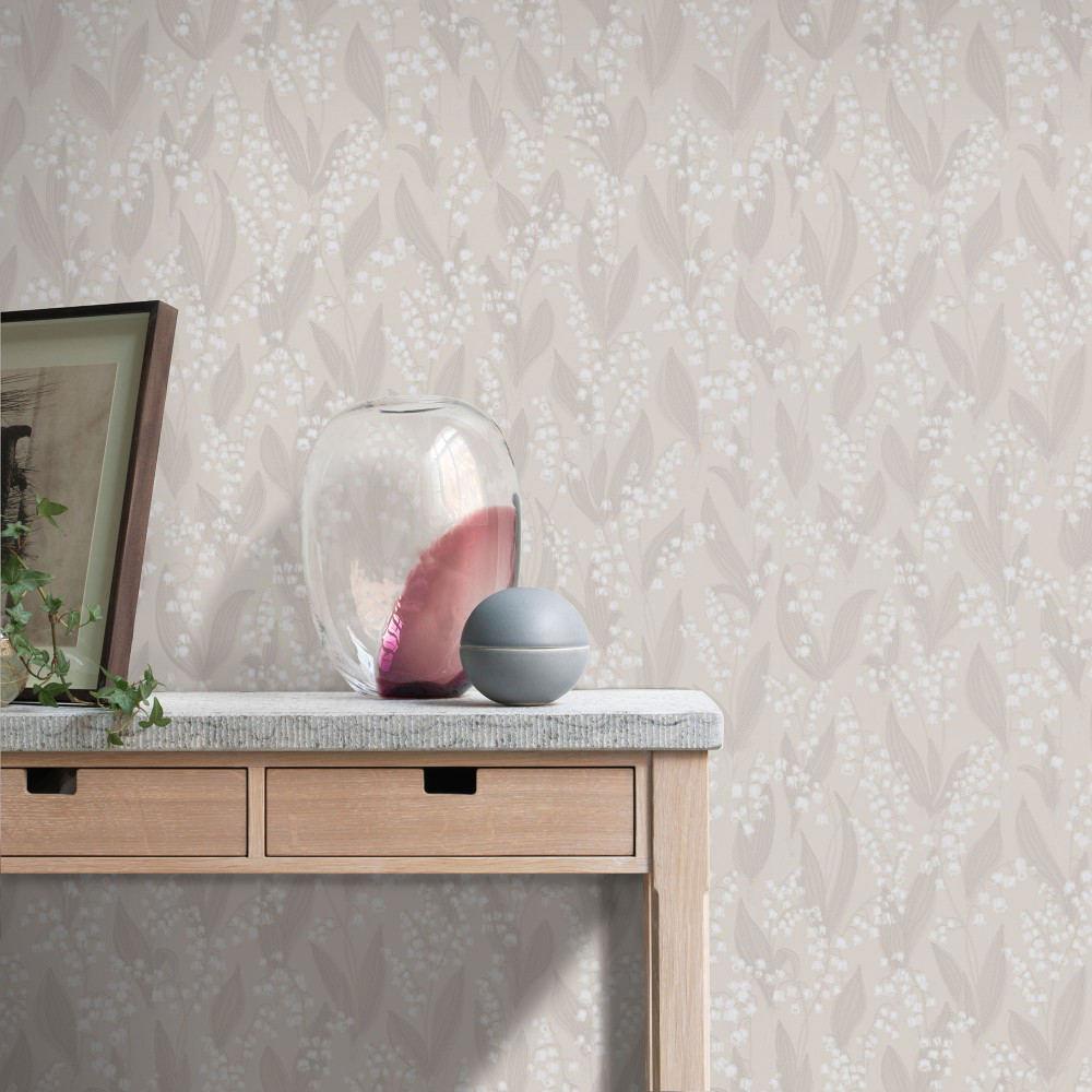 Tienda online telas papel papel pintado liljekonvalj beige - Papel pintado online ...