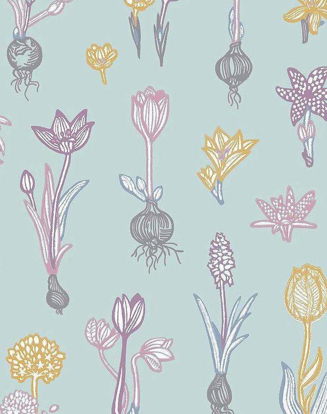 Tienda online telas papel papel pintado bulbos malva for Papel pintado color turquesa