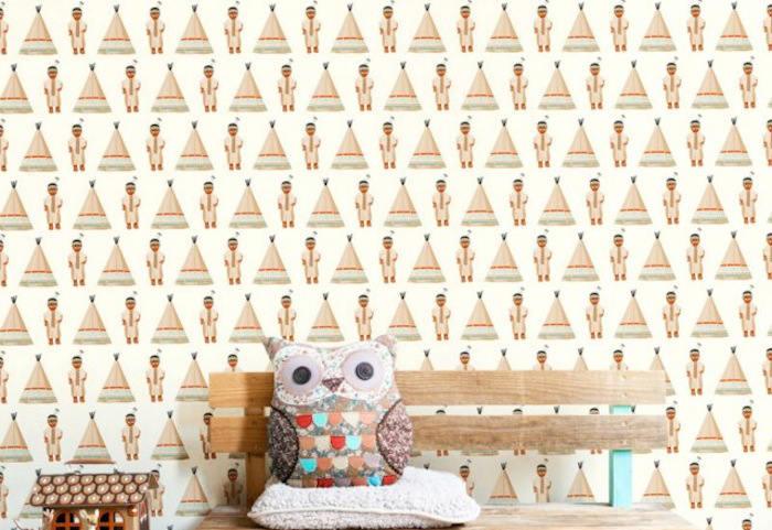 Tienda online telas papel juega a indios y vaqueros en - Papel pintado decorativo para paredes ...