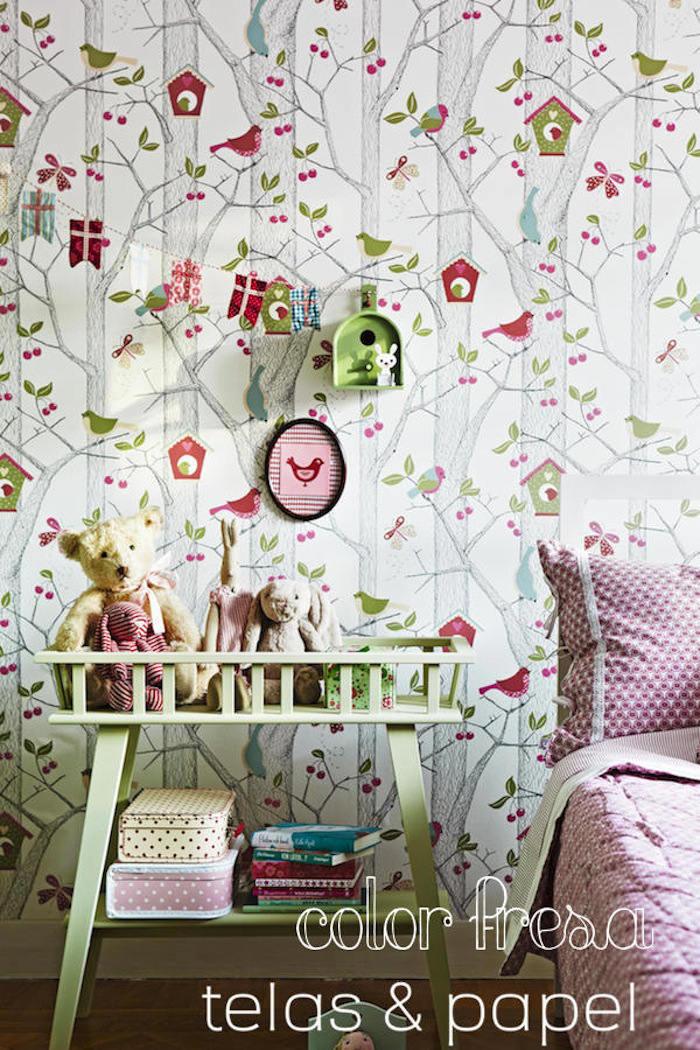 Tienda online telas papel decora las paredes con el - Dormitorio con papel pintado ...
