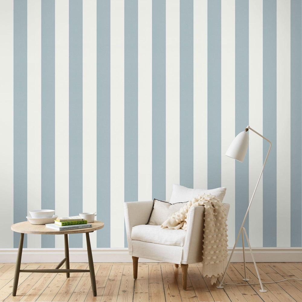Tienda online telas papel papel pintado de rayas kristina azul gris ceo - Maison decor papeles pintados ...