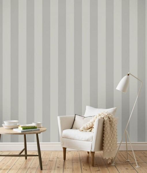 Papel pintado de rayas kristina gris telas papel for Paredes pintadas de gris