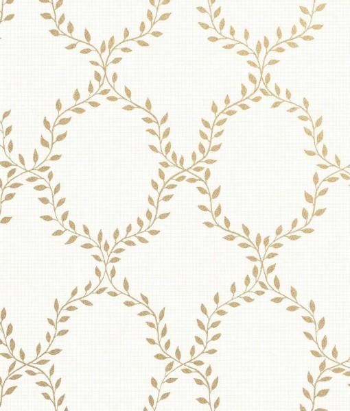Papel pintado trellis de hojas wilma dorado telas papel for Papel pintado dorado