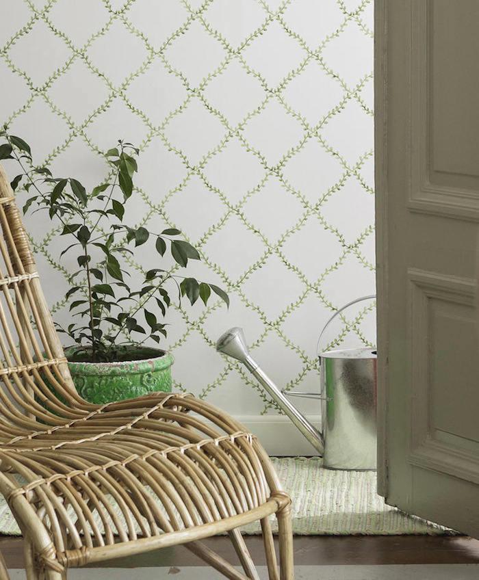 Tienda online telas papel una pared verde muy natural for Papel pintado estampado