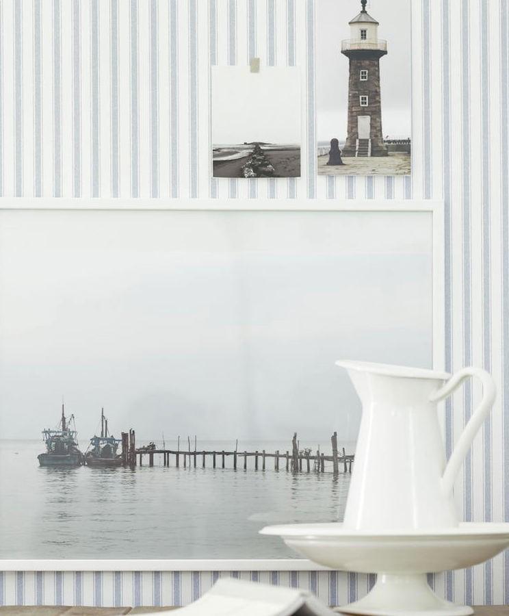 tienda online telas & papel | Papel pintado rayas herringbone azul