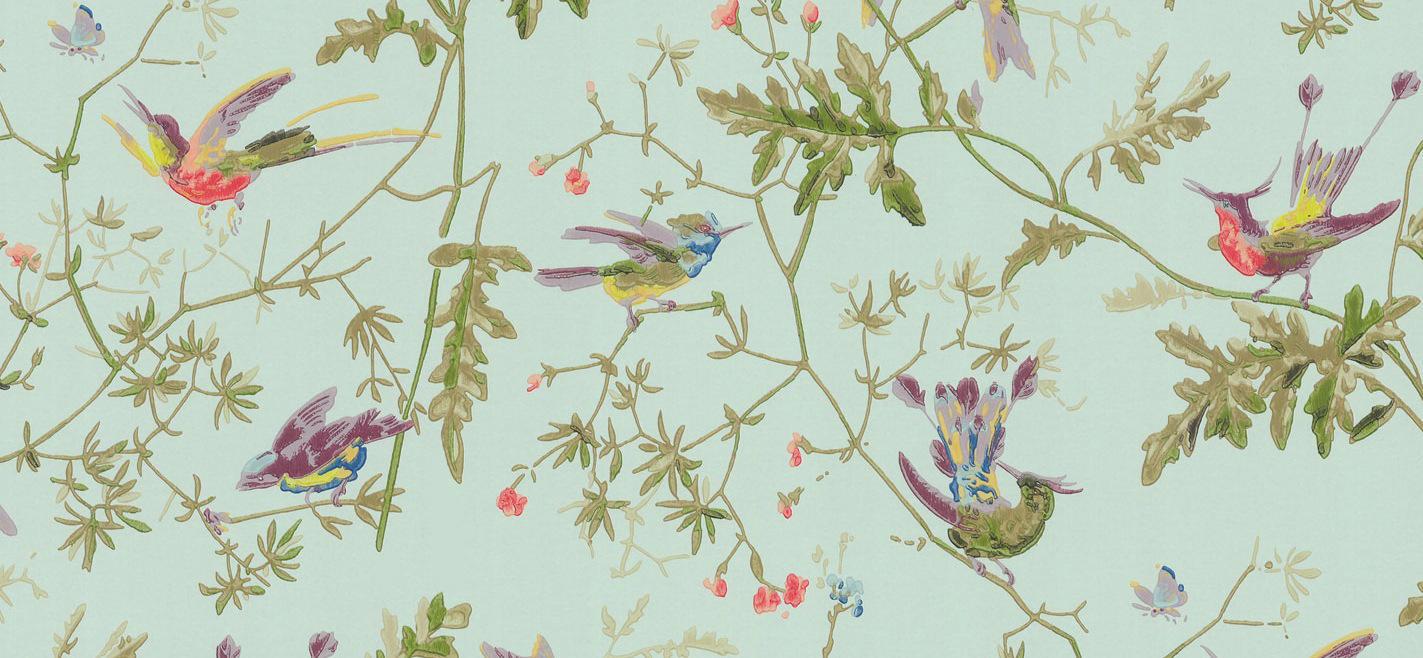 Tienda online telas papel papel pintado colibris verde - Papel pintado verde ...