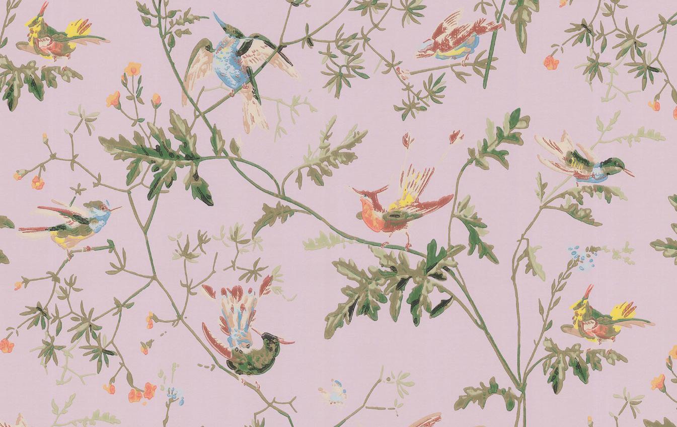 Papel pintado colibris rosa antiguo telas papel - Papel pintado antiguo ...