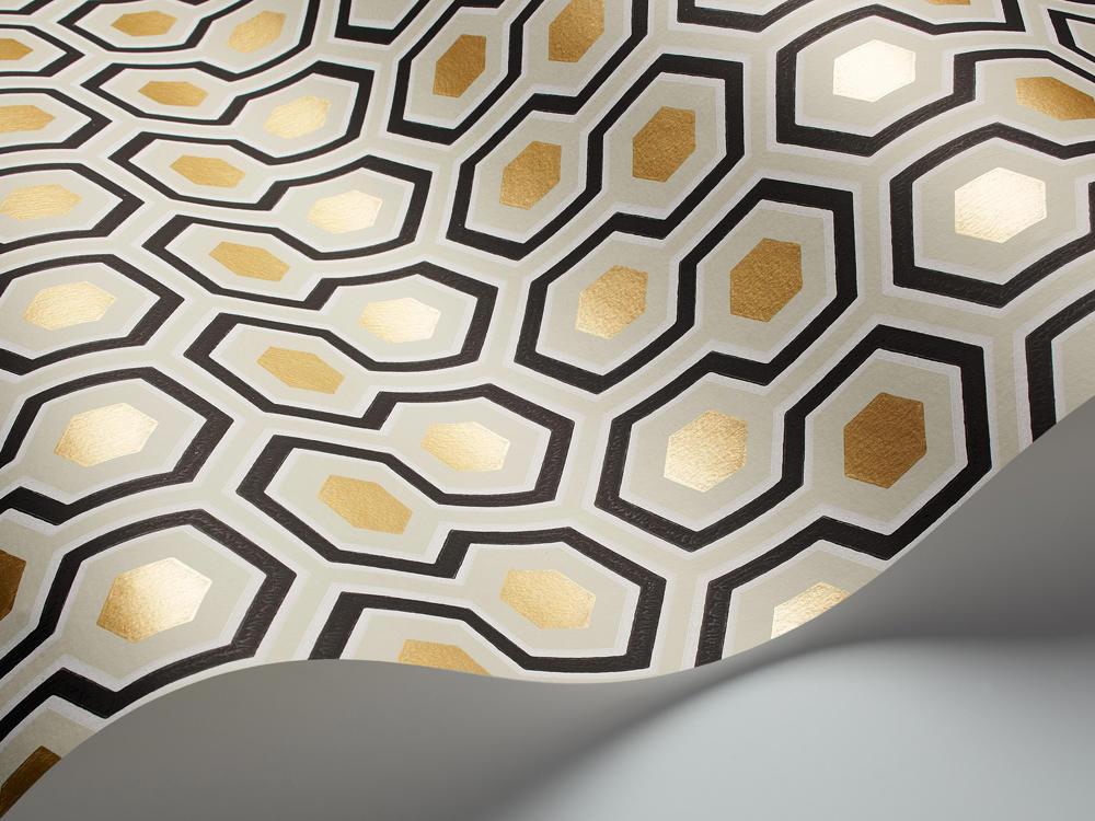 Tienda Online Telas Amp Papel Papel Pintado Hexagons Dorado