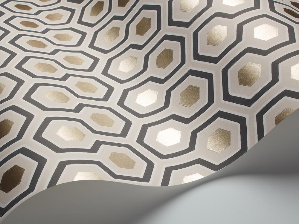 Tienda online telas papel papel pintado hex gonos - Papel pintado color plata ...