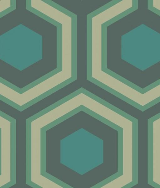 Tienda online telas papel papel pintado hex gonos - Papel pintado verde ...