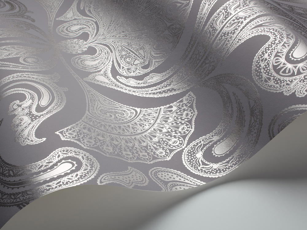 Tienda online telas papel papel pintado malabar color gris plata - Papel pintado gris ...